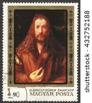 "Small photo of MOSCOW, RUSSIA - CIRCA JUNE, 2016: a post stamp printed in HUNGARY shows the painting ""Albrecht Durer"", the series ""The 450th Death Anniversary of Durer"", circa 1979"