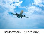 airplane landing over the sea... | Shutterstock . vector #432759064