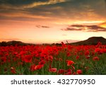 Red Poppy Field With Clouds