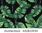 watercolor palm leaves seamless ... | Shutterstock . vector #432813934