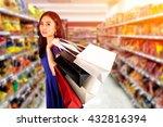happy women in blue dress with...   Shutterstock . vector #432816394