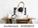 woman stretching relaxation... | Shutterstock . vector #432828019