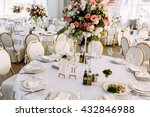 fully decorated white wedding... | Shutterstock . vector #432846988
