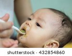 feeding. adorable baby child... | Shutterstock . vector #432854860