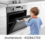 little child playing with oven... | Shutterstock . vector #432861703