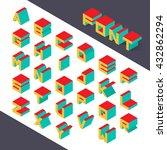 isometric 3d type font set.... | Shutterstock .eps vector #432862294
