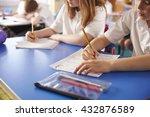 two primary school kids working ... | Shutterstock . vector #432876589