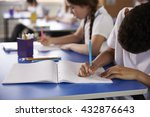 primary school kids writing at... | Shutterstock . vector #432876643
