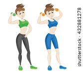 sporty young woman in... | Shutterstock . vector #432881278