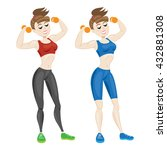 sporty young woman in... | Shutterstock . vector #432881308