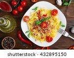 fresh italian pasta fettuccine... | Shutterstock . vector #432895150