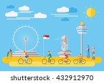 flat design  singapore... | Shutterstock .eps vector #432912970