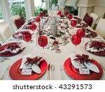 Christmas Dinner Table - stock photo