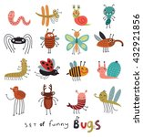Set Of Cute And Funny Bugs