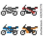 pixel art motorcycle | Shutterstock . vector #432923770