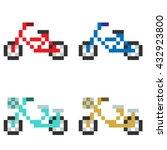 pixel art bicycle | Shutterstock . vector #432923800