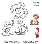cute cartoon little girl... | Shutterstock .eps vector #432935749
