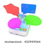smartphone with bubbles... | Shutterstock . vector #432949564