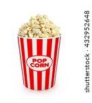 popcorn in striped bucket on...   Shutterstock . vector #432952648