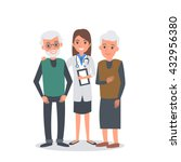 doctor with elderly patients.... | Shutterstock .eps vector #432956380