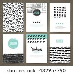 set of brochures with hand... | Shutterstock .eps vector #432957790