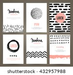 set of brochures with hand... | Shutterstock .eps vector #432957988
