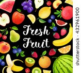 colorful background with fruits ... | Shutterstock . vector #432961900