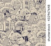 seamless pattern with houses | Shutterstock .eps vector #432967648