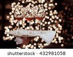 Three Red Wine Glass Against...