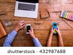 father and son  office desk... | Shutterstock . vector #432987688