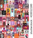 vector pop art collage of... | Shutterstock .eps vector #433012180