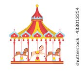 amusement park with carousel... | Shutterstock .eps vector #433013254