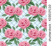 seamless pattern with peonies... | Shutterstock . vector #433019110