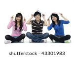 three young friends smiling... | Shutterstock . vector #43301983