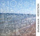 summer vacation doodles.vector... | Shutterstock .eps vector #433027654