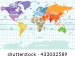 political map of the world with ... | Shutterstock .eps vector #433032589