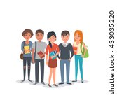 group of young international... | Shutterstock .eps vector #433035220