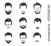 hipster hair  mustaches and... | Shutterstock .eps vector #433038166