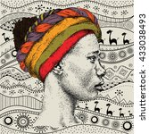 girl in turban with african...   Shutterstock .eps vector #433038493