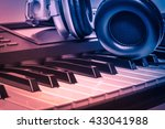 headphones on electric piano... | Shutterstock . vector #433041988