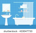 bathroom with furniture. cozy... | Shutterstock .eps vector #433047733