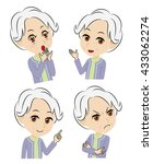 old woman  gets surprised and... | Shutterstock .eps vector #433062274