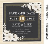 save the date  wedding... | Shutterstock .eps vector #433074868