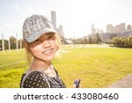 the girl with the warm  sun... | Shutterstock . vector #433080460