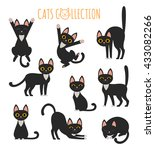 Stock vector set of vector images of cute black cat in various poses 433082266