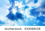blue sky with light streaming... | Shutterstock . vector #433088428