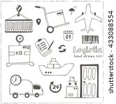 hand drawn logistics and... | Shutterstock .eps vector #433088554