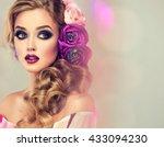 spring  girl with trendy make... | Shutterstock . vector #433094230