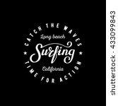 surfing lettering. long beach... | Shutterstock .eps vector #433099843