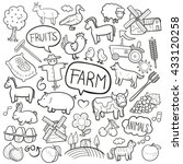 farm day animals doodle icons... | Shutterstock .eps vector #433120258